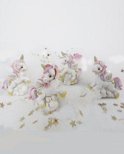 unicorno bianco rosa e viola per bomboniere