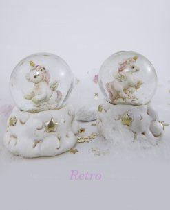 unicorno rosa dentro palla con stelle dorate 1
