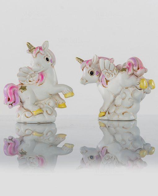 unicorno rosa statuina