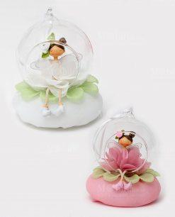 Fatina fiore dentro palla vetro 4 ass linea trilly con sacchetto ad emozioni 1