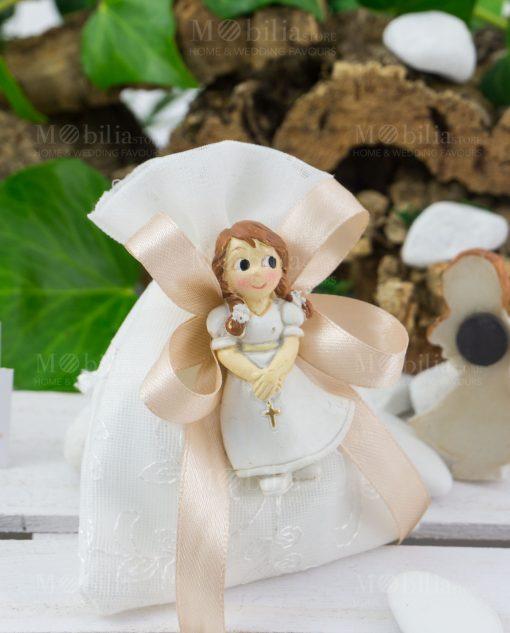 Sacchetto portaconfetti bianco con calamita bimba con vestito e rosario