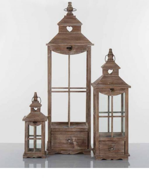 Set 3 lanterne esagonali legno naturale