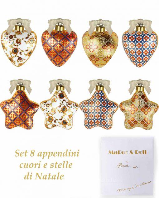 appendini cuori e stelle porcellana decorata baci miilano collezione merry christmas