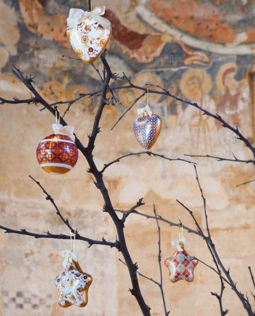 appendinii cuore stella e palla porcellana decorata merry christmas baci milano