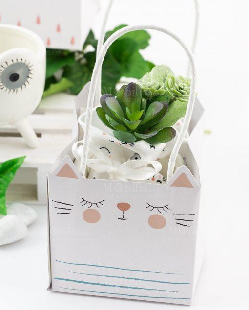 bag bustina portapiantina animaletti porcellana con piantina linea nature ad emozioni