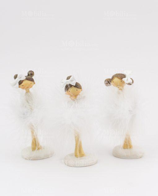 bambolina piccola con tutù bianco e fiocco 3 modelli assortiti