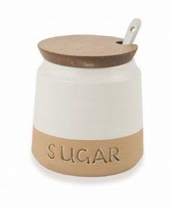 barattolo con scritta sugar gres bianco e beige 1