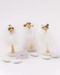 bomboniera bambolina con tutù piume piccola tre modelli