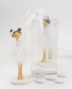 bomboniera bambolina grande con scatola trasparente fiocco e perlina