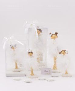 bomboniera bambolina grande e piccola vari modelli con scatola trasparente fiocco bianco e perlina