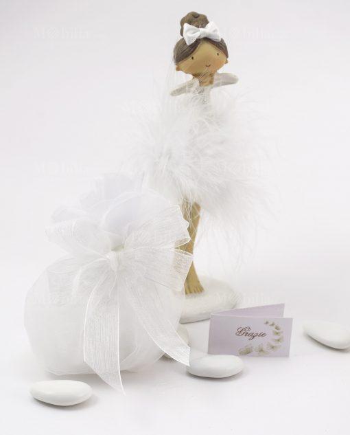 bomboniera bambolina in piedi grande con sacchetto bianco e fiocco a 4