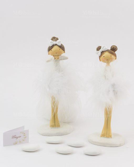 bomboniera bambolina in piedi grande con tutù e fiocchetto bianco