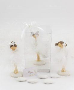 bomboniera bambolina piccola tre modelli con scatola trasparente fiocco e perlina