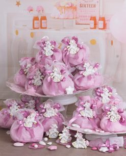 bomboniera calamita unicorno rosa su sacchetto quadri