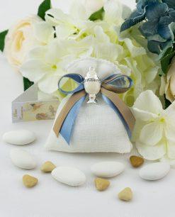 bomboniera ciondolo calice con madreperla su sacchetto con doppio fiocco