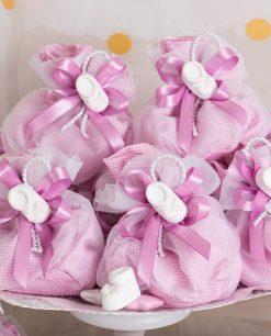 bomboniera gessetto scarpetta su sacchetto quadri rosa