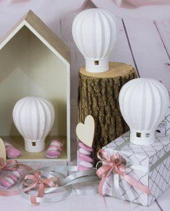 bomboniera lampada led a forma di mongolfiera con scatola