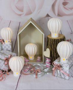 bomboniera lampada led mongolfiera con scatola e fiocco rosa