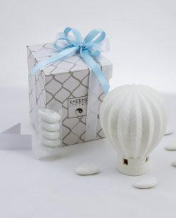 bomboniera lampada mongolfiera a led porcellana bianca con scatola