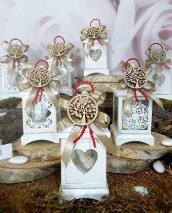 bomboniera lanterne metallo bianco con ciondolo legno albero della vita