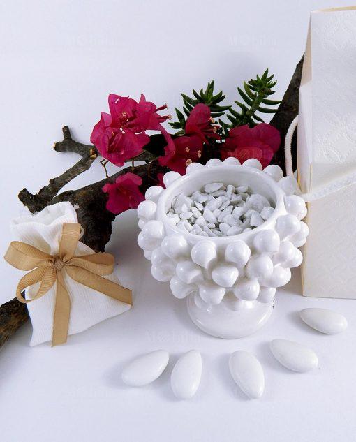 bomboniera mezza pigna ceramica di caltagirone bianca