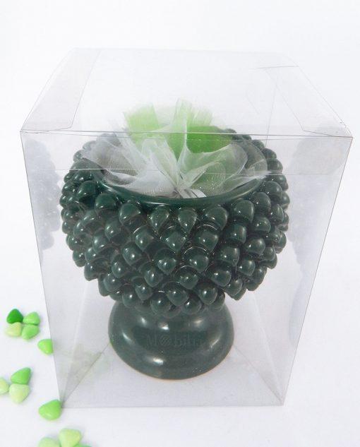 bomboniera pigna ceramica verde con scatola trasparente e sacchettino