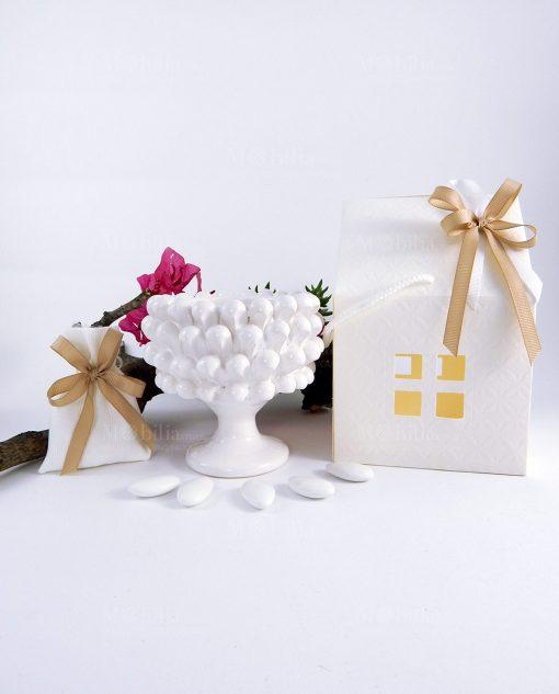 bomboniera portapianta mezza pigna media bianca ceramica artigianale con sacchetto e scatola