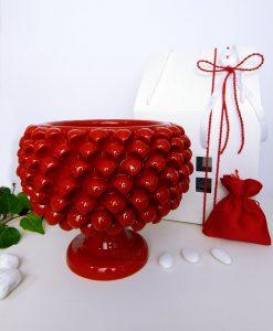 bomboniera portapiante pigna ceramica rossa con scatola e sacchetto rosso
