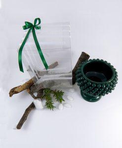 bomboniera portapiante pigna verde ceramica artigianale siciliana con scatola trasparente