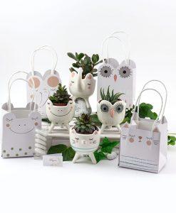 bomboniera portapiantine animaletti porcellana con piantina grassa e bag bustina cartoncino linea nature ad emozioni