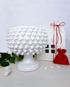 bomboniera portavaso mezza pigna bianca ceramica siciliana con scatola casetta e sacchetto H23