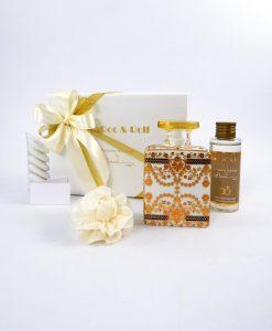 bomboniera profumatore ambiente quadrato debbie con fragranza baci milano maroc e roll