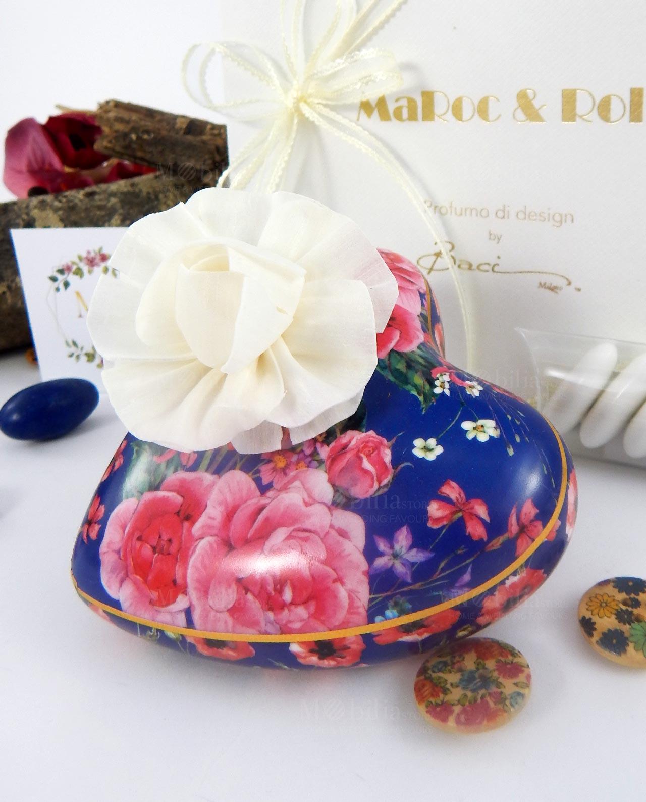 bomboniera profumatore cuore giardino blu porcellana decorata baci milano i love