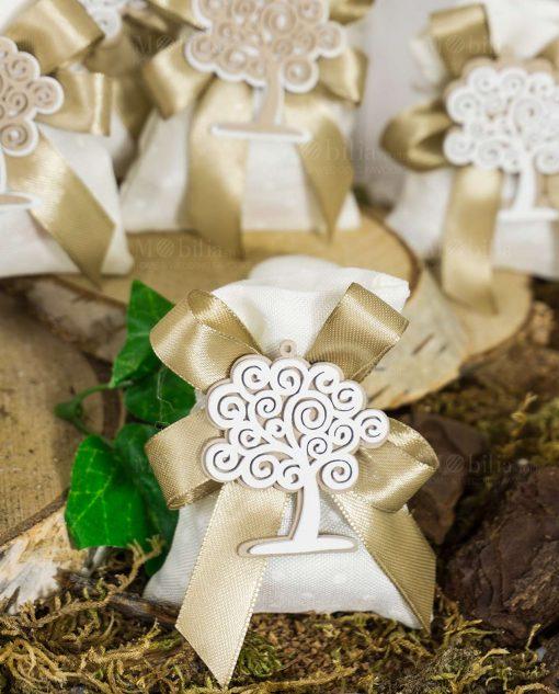 bomboniera sacchetto bianco con ciondolo albero della vita