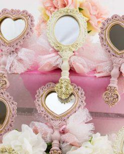 bomboniera specchietto colori e forme assortite con sacchetto tulle linea princess ad emozioni