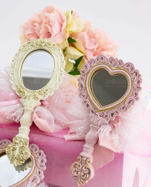 bomboniera specchietto cuore rosa e ovale bianco con sacchetto tulle linea princess ad emozioni