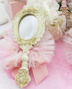 bomboniera specchietto da borsa bianco ovale con sacchetto tulle linea princess ad emozioni