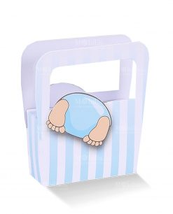 borsa cartoncino con bimbo con testa dentro celeste