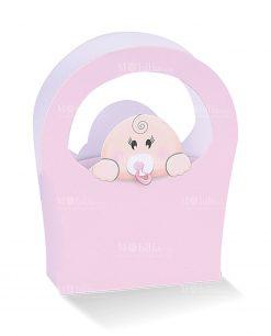 borsa cartoncino rosa con bimba testa fuori