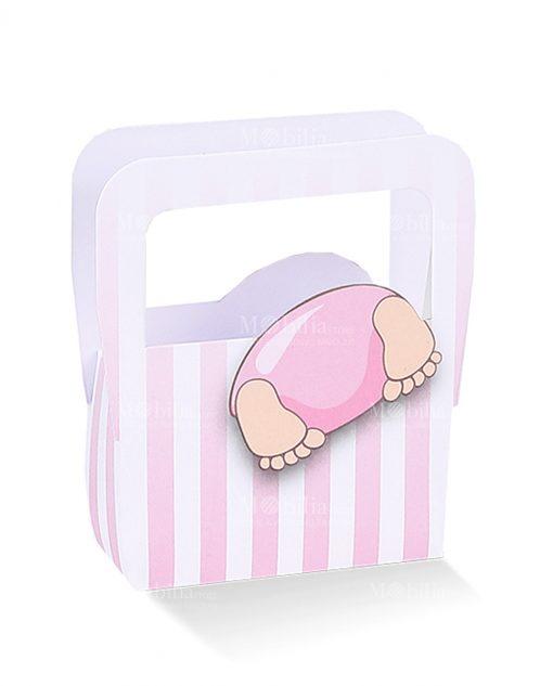 borsa cartoncino rosa con bimbo con testa dentro