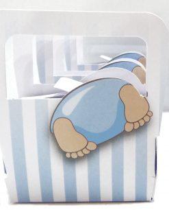 borsina portaconfetti con bimbo testa dentro