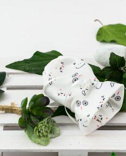 bustina sacchetto portaconfetti bianco con animaletti piantina grassa linea nature ad emozioni