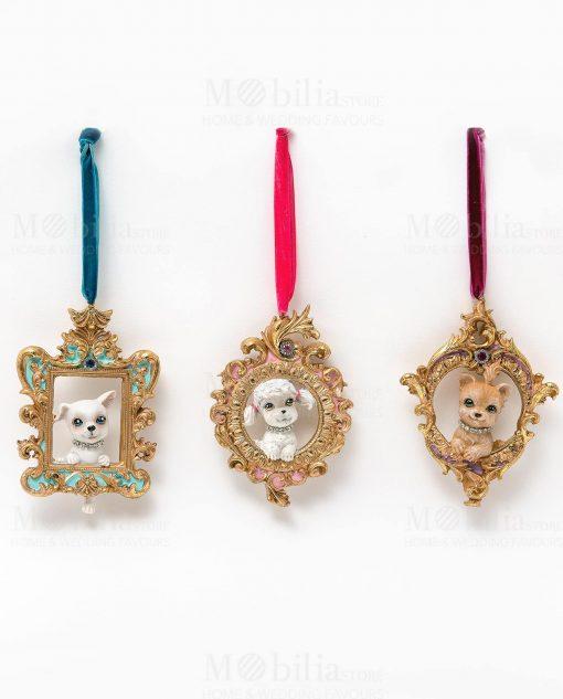 cagnolini 3 assortiti su cornici poliresina linea les petit royal ad emozioni 1