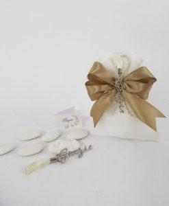 ciondolo scritta grazie su sacchetto bianco e fiocco tortora 1