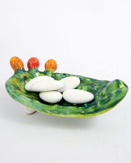 ciotola pala fico dindia ceramica artiginale siciliana con confetti bianchi