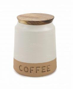 contenitore per caffè bianco e beige 1