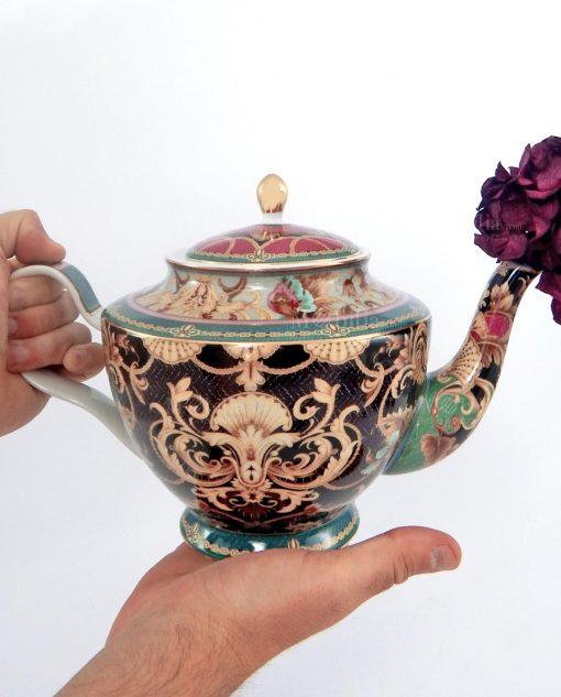 diffusore teiera 12 lt porcellana decoro oceano con fiore viola baci milano tea time