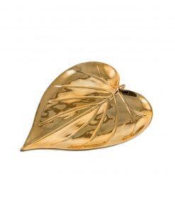 foglia dorata a cuore decorativa
