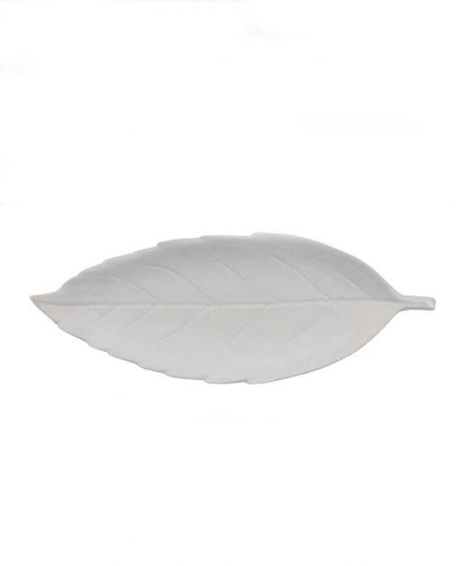 foglia ovale grande ceramica bianca