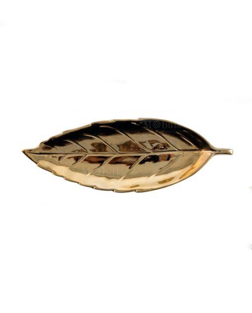 foglia ovale piccola ceramica dorata